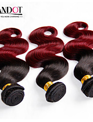 Mongolian Virgin Hair Body Wave Ombre Hair Extensions 3 Pcs Hair Black/Wine Red Ombre Human Hair Weaves Wavy