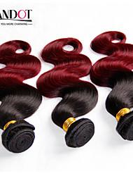 onda del cuerpo del pelo virginal mongol ombre extensiones de cabello 3 pcs pelo negro / vino tinto pelo ombre humano teje ondulado