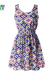 ZAY Women's Multicolor Rhombus Sleeveless Waisted Above Knee Dress