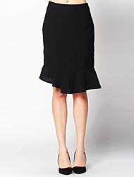Women's Solid Black Skirts , Sexy/Work Mini Ruffle