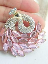 Women Accessories Gold-tone Pink Rhinestone Crystal Peacock Brooch Art Deco Scarf Brooch Pin Women Jewelry