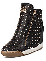 Scarpe Donna - Sneakers alla moda - Formale / Casual - Punta arrotondata - Zeppa - Sintetico - Nero / Rosso / Bianco