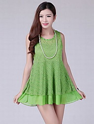 Women's White/Black/Green/Yellow Dress , Sexy/Lace/Work Sleeveless