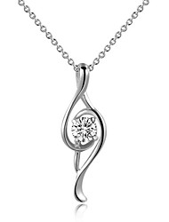 T&C Women's Noble 18K White Gold Plated Clear Austria Crystal Musical Note Pendant Necklace