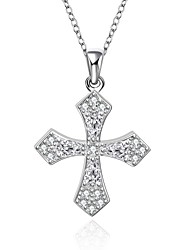 Cremation Jewelry 925 sterling silver Cross Pave Zircon Pendant Necklace for Women