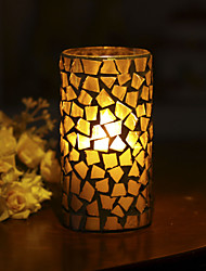 Simplux™ 3*6'' Pumpkin Color Smiling Face Pattern Mosaic Glass Flameless Led Wax Candle with Timer,Work with 2 C Battery