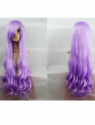 Hot Sale 40 Inches High Temperature Fiber Long Curly Lavender Cosplay Costume Wig Side Bang