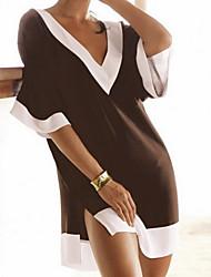 Women's Summer Beach V Collar Short Sleeve Slit Hem Mini Dress
