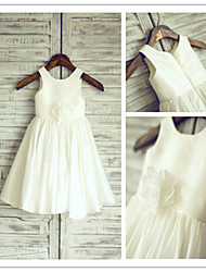 Flower Girl Dress Tea-length Taffeta A-line Sleeveless Dress