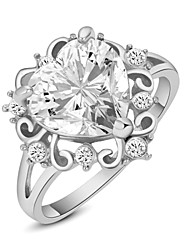HKTC 18k White Gold Plated Shining Clear Crystal Simulated Diamond Heart Finger Ring