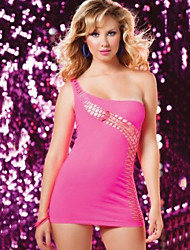 Clubwear Dresses Women's Acrylic/Spandex/Elastic Silk-like Satin 1 Piece Black/Pink