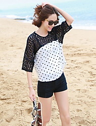 Women's Round Tops & Blouses , Cotton/Lace/Others Casual/Lace ¾ Sleeve ACJ