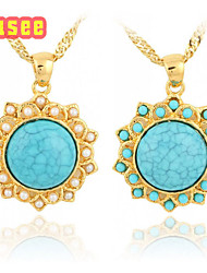 18K Golden Plated Turquoise with   Imitation Pearl Pendant Necklace