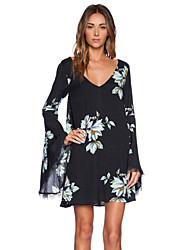 Women's Flare Sleeve White Lily Print Lace Unique Slim Fit Sexy Dress
