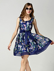 Women's Party/Cocktail Sexy / Vintage Shift Dress,Print V Neck Above Knee Sleeveless Multi-color Cotton / Polyester Summer