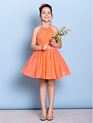 Lanting Bride® Knee-length Chiffon Junior Bridesmaid Dress A-line Jewel with Beading / Draping / Sash / Ribbon