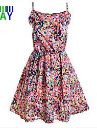 ZAY Women's Beatiful Multicolor Dot Condole Belt Slim Dress