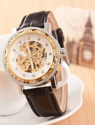Men's Round Dial Case Leather Watch Brand  Mechanical Wrist Watch(More Color Available)