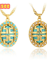 Fashion 18K Golden Plated   Imitation Pearl  with Turquoise Pendant Necklace