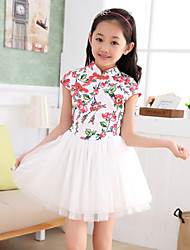 Girl's Summer/Spring/Fall Inelastic Medium China Style High Neck Short Sleeve Dresses (Cotton Blends)