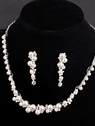 Vintage Women's Silver/Alloy Wedding/Party Jewelry Drop White Rhinestones/Crystal/Diamond Pearls Jewelry Set For Bridal