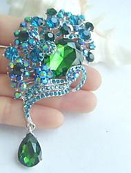 Women Accessories Silver-tone Turquoise Green Rhinestone Crystal Brooch Art Deco Flower Brooch Bouquet Women Jewelry