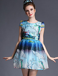 2015 summer new large size women picture printing lovely Princess Tutu skirt dress by age