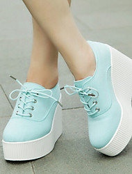 Women's Shoes Canvas Wedge Heel Platform/Creepers/Round Toe Fashion Sneakers Outdoor/Casual Blue/White
