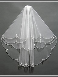 2T Sector Bead Edge  Ivory Bride Wedding Dress Fitting Veil + Comb