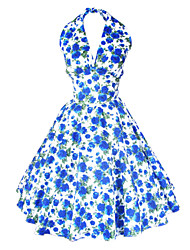 Maggie Tang Women's Halter Floral 50s Vintage Rockabilly Marilyn Pinup Cos Party Swing Dress 504