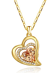 18k Yellow Gold Plated Champagne Cubic Zirconia Simulated Diamond Heart Pendant Necklace