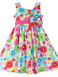 Girls Colorful  Flower Print Party Birthday Kids  Clothing  Dresses (100% Cotton)