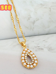 18K Golden Plated  Fashion Water drop Shape with Imitation Pearl Pendant Necklace