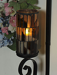 Simplux™ 3*6 Inch Brown Tiled Pattern Mosaic Glass with Flameless Led Wax Candle with Timer,Work with 2 C Battery
