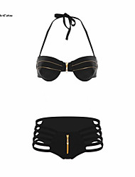 Milaieshow Women's Sexy Zipper Open Bathing Swimwear Bikini Set