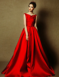 Formal Evening Dress A-line Bateau Floor-length Satin with Pearl Detailing