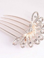 Fashion milky Alloy peacock Hair Comb for Women, Weddding Hair Accessories with perals for Flower Girls