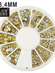2/3/4 mm Mix weißen runden Nieten Nailart goldenen&Silberschmuck 400pcs