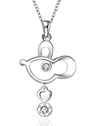 Cremation Jewelry 925 sterling silver Lovely Animal with Zircon Pendant Necklace for Women