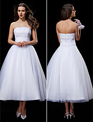 Lanting Ball Gown Wedding Dress - White Tea-length Strapless Tulle