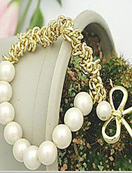 May Polly White Pearl Gold Bow Bracelet