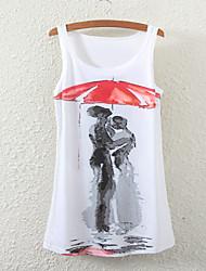 Women's Sleeveless Lover Graphic Printed Vest