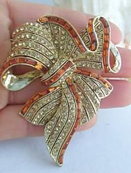 Women Accessories Gold-tone Topaz Rhinestone Crystal Bowknot Brooch Art Deco Crystal Sash Brooch Women Jewelry