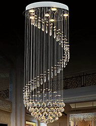 LED Pendant Light Modern Crystal Chandelier 6 Lights Silver Canpoy Clear Crystal Ceiling Lamps Fixtures H180CM