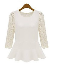 Women's Round Tops & Blouses , Lace/Rayon Work Long Sleeve JJFS