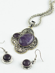 Toonykelly Vintage Turquoise Amethyst Stone Bead(Earring and Necklace)Jewelry Set