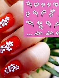 3D White Flowers Pattern Wedding Nail Art Sticker XF-010