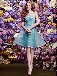 Bridesmaid Dress Knee-length Organza A-line V-neck Dress