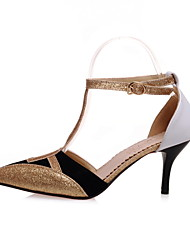 DamenKleid-Kunstleder-Stöckelabsatz-T-Riemen / D'Orsay und Zweiteiler / Spitzschuh-Gold