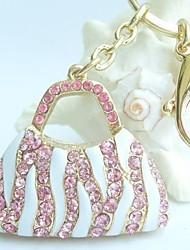 bolsa pingente chaveiro com strass cristal-de-rosa